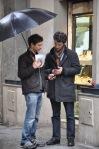 Comparing notes: David Rosenthal, Fabrizio Nevola in Piazza S Piero Maggiore